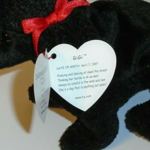 Ty Beanie Baby ~ GIGI the Black Poodle Dog MWMT 6 inch