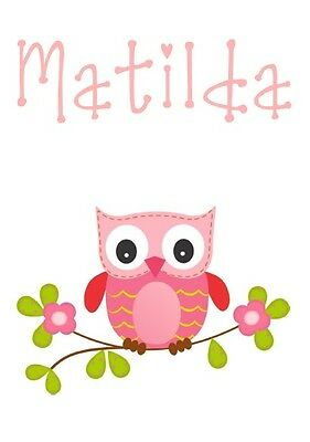 PERSONALISED OWL NAME PRINT POSTER PINK BABY NURSERY CHILDS GIRLS BEDROOM