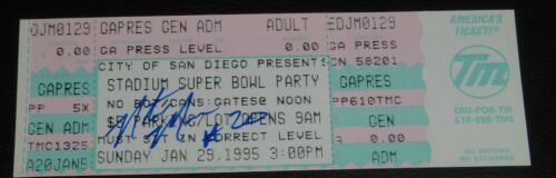 Natrone Means Signed Chargers Super Bowl XXIX Game Party Full Ticket 1994 Season