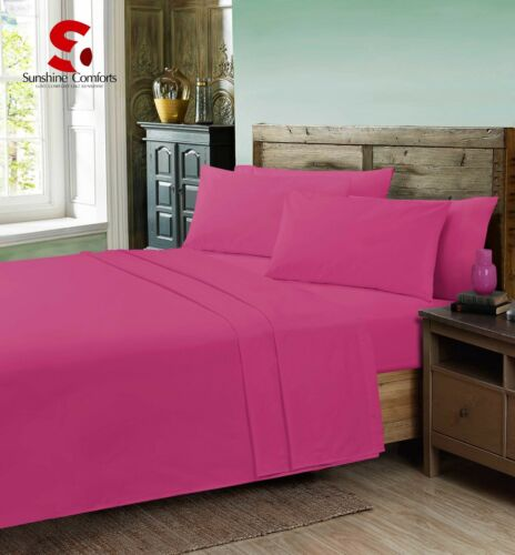 Plain Dyed Percale Fitted Bed Sheet Or Pillowcases Polycotton Single Double King