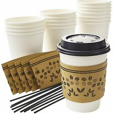 Disposable 12 Oz Paper Coffee Cups With Lids Stirrers Amp Sleeves By Avant Grub