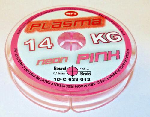 WFT PLASMA 14KG,0.12mmØ NEON-PINK,150m rundgeflochtene Angelschnur 0,12€//m