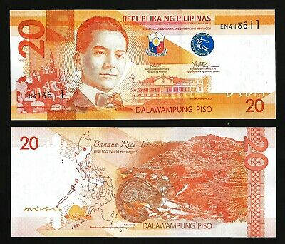 P-206 Philippines 20 Piso 2015 20 PCS Consecutive Lot Prefix DL UNC