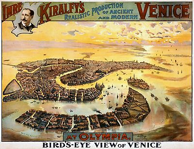 Imre Kiralfy/'s Venice Birds Eye View Vintage Theatrical Poster 10x8 Inch Reprint