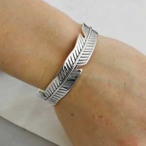 Feather-Cuff-Bracelet-925-Sterling-Silver-Bangle-Birds-Freedom-Nature-NEW