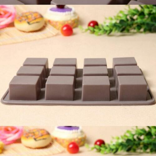 12 HOT Square Silicone Cake Chocolate Cookies Baking Mould Ice Cube Mold Tray LH