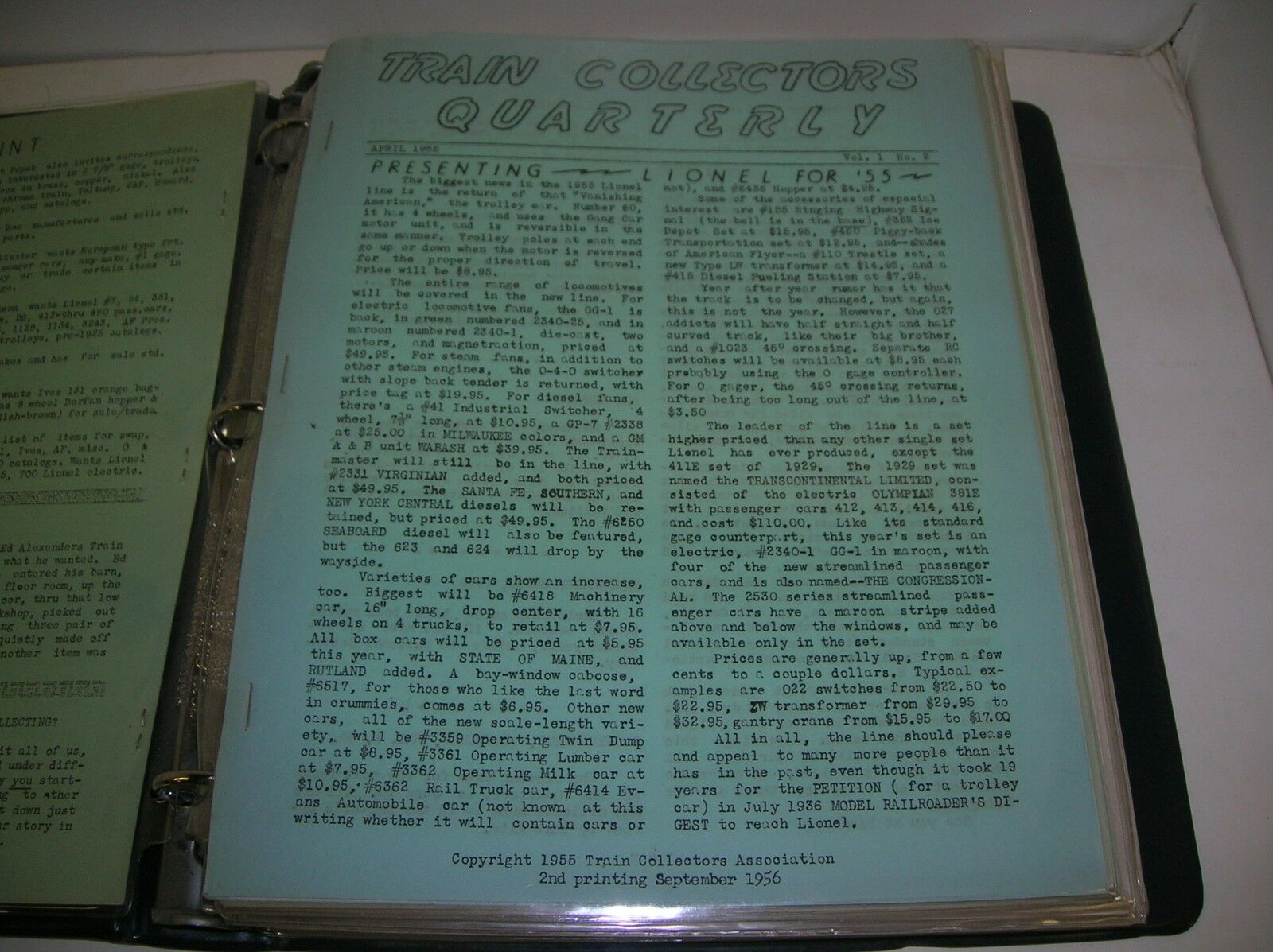 TRAIN COLLECTORS QUARTERLY NEWS LETTER APRIL 1955 VOL. 1 NO. 2 - MAKE OFFERS