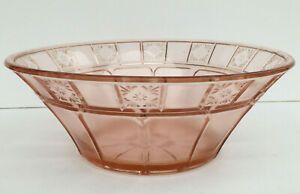 Vintage-1930s-Jeannette-Pink-Depression-Glass-Doric-Serving-Bowl-Round