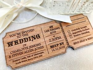 Personalised Wedding Invitations Wooden Ticket Style Vintage