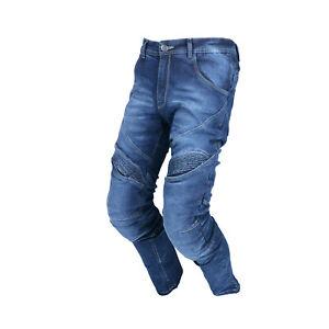 Men-039-s-Denim-Motorcycle-Jeans-Pant-Knee-amp-Seat-reinforced-Dupont-Kevlar-CE-Armour