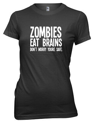 1Tee Womens Loose Fit Zombies Eat Brains Don/'t Worry You/'re Safe T-Shirt