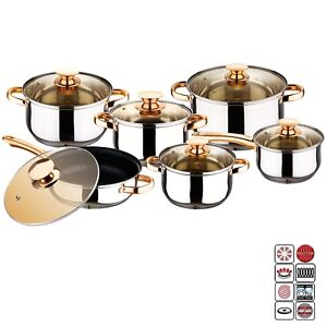 12-Pcs-INDUCTION-HOB-STAINLESS-STEEL-CASSEROLE-POT-SAUCEPAN-COOKWARE-DINING-SET