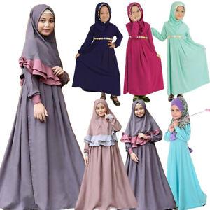 Muslim Kids Girls Prayer Dress Islamic Kaftan Abaya Jilbab Robe Arab Clothes