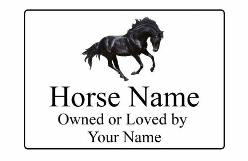 Personalised Black Horse Name Metal Aluminium Sign Plaque Stable Door 197x141mm