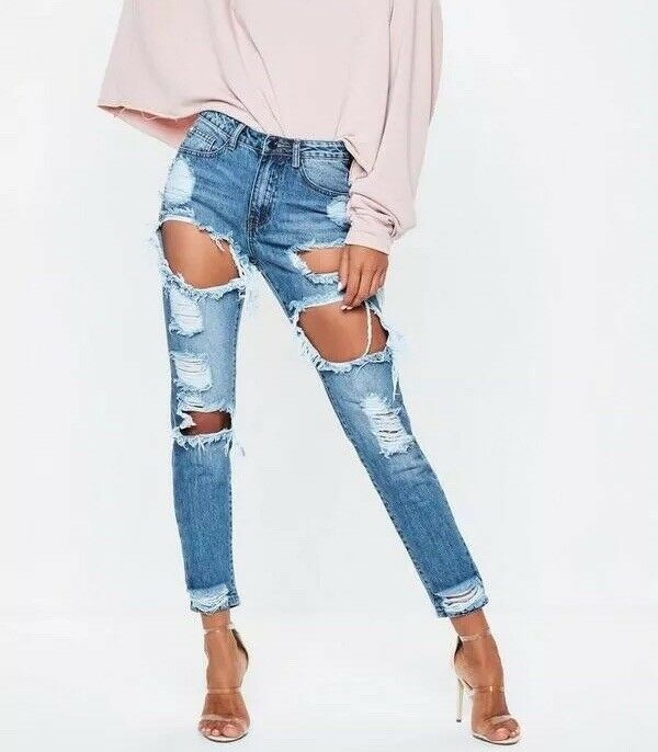 NWT MISSGUIDED US 8 Riot Ripped Destructed High Rise Mom Jeans