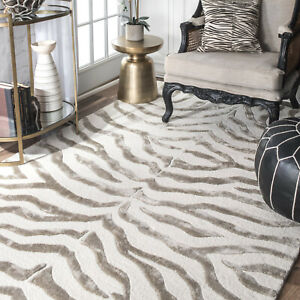 Details about Animal Print Area Rug Contemporary Carpets Zebra 100% Wool  Faux Silk Mats Grey
