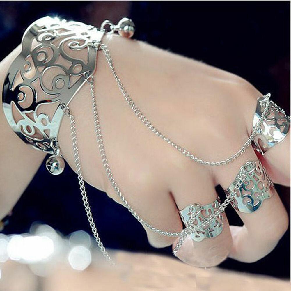 Slave Bracelet Hand Chain Harness Silver or Copper Finger Ring Bracelets