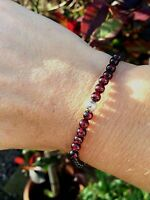 Designer Sterling Silver Garnet Bracelet Small Bead Stretch Birthstone Jewelry