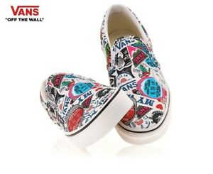 VANS-Classic-Slip-on-Mash-Up-Autocollants-Vrai-Blanc-Fashion-Baskets-Chaussures-homme