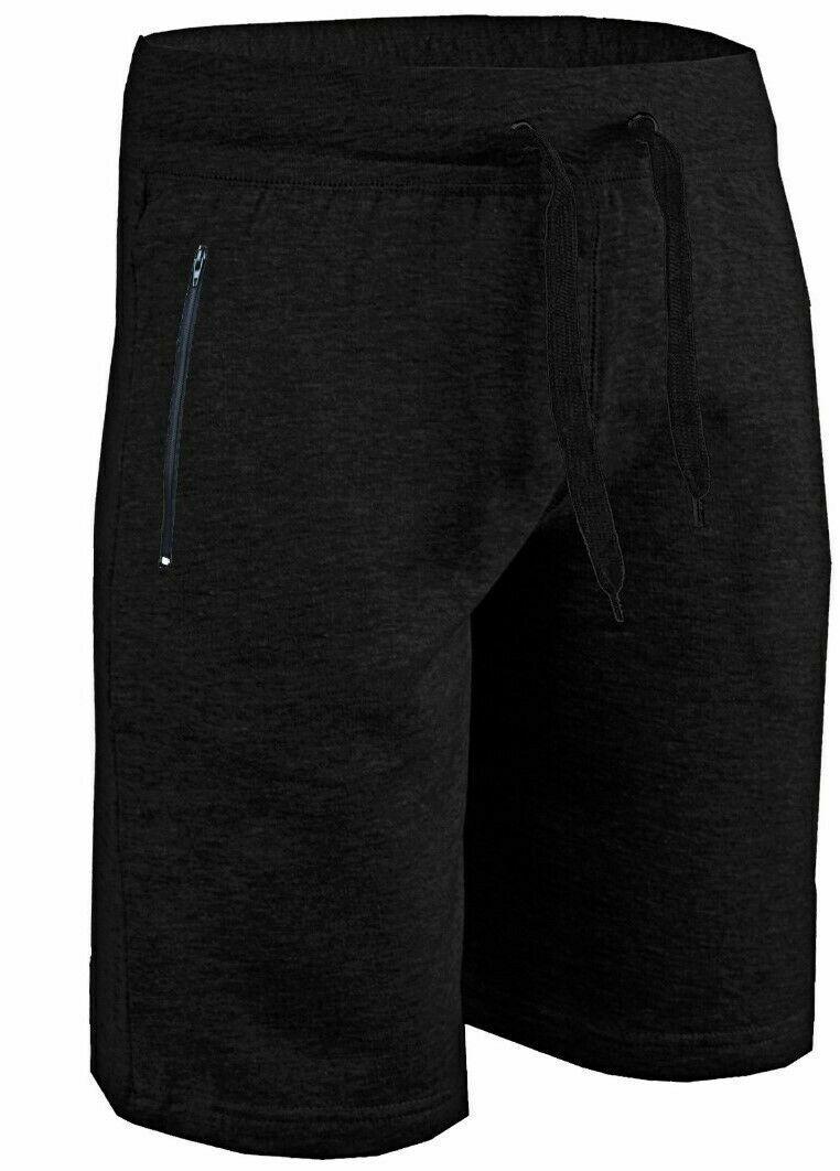 Mens Gym Shorts Running Joggers Zip Pockets Jogging Short Cotton Elasticated HNL