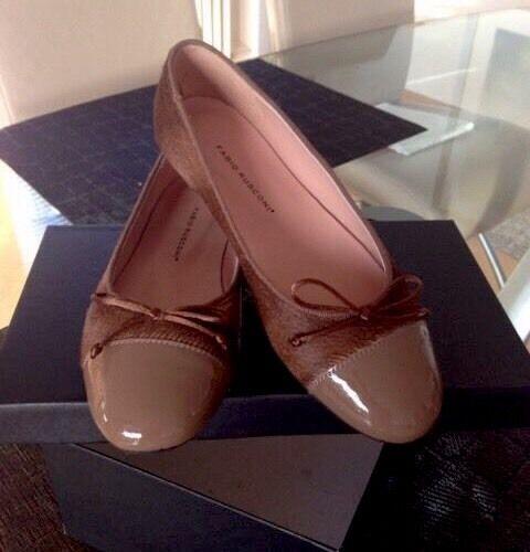 Ballerinas Leder/Fell, Farbe Lackspitze,Gr.36, Farbe Leder/Fell, Nude ,