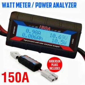 150A-Digital-LCD-Watt-Meter-Power-Analyser-Solar-Caravan-Anderson-Plug-Tool-AU