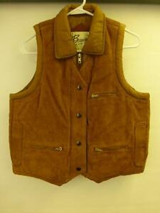 Womens Bermans Thick Brown Leather Expert Button Zip Vest
