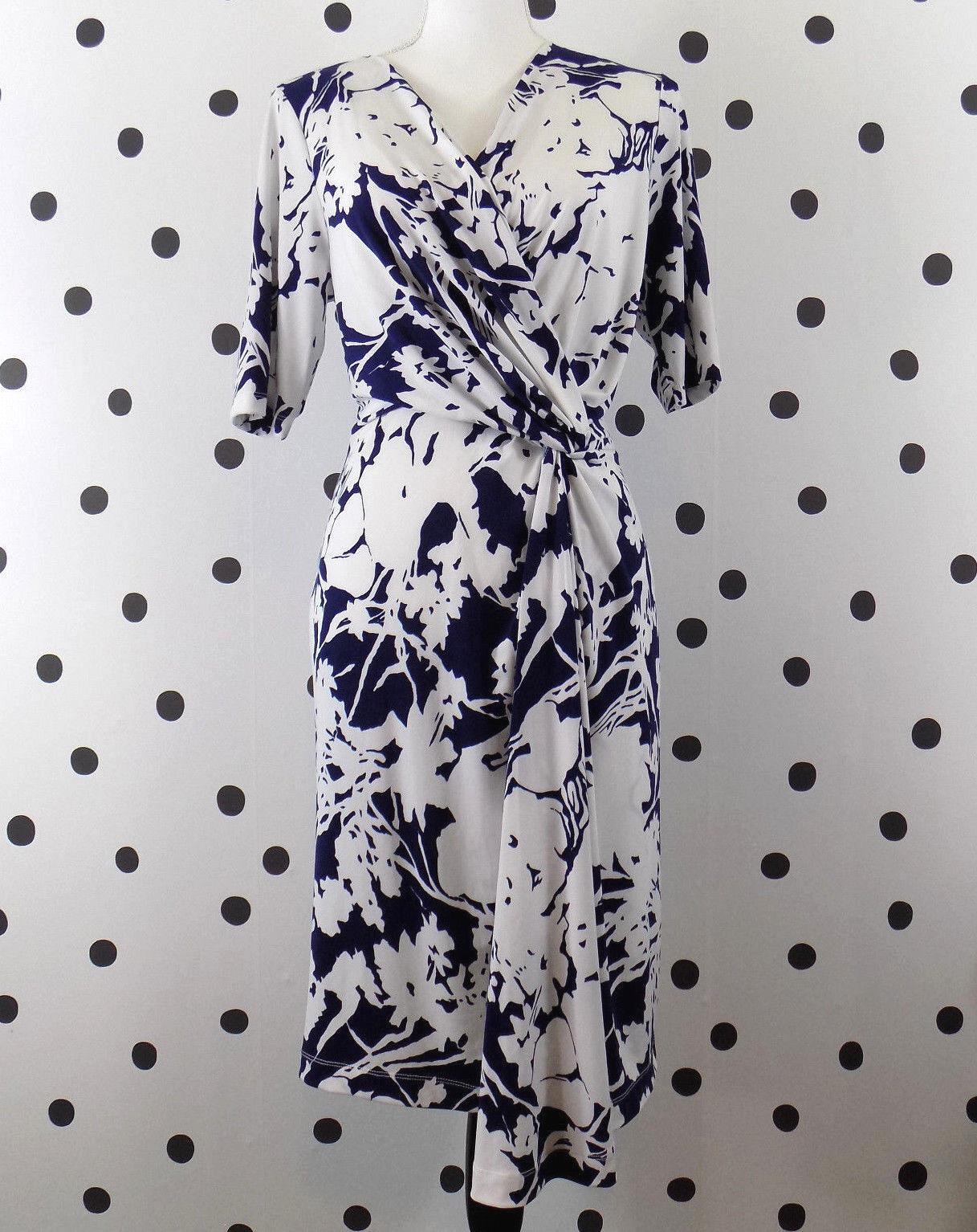 Adrianna Papell damen Jersey Dress Medium Floral Twist Short Sleeve New