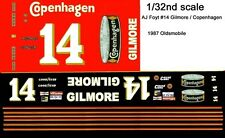 #14 AJ Foyt Copenhagen Oldsmobile 1/32nd Scale Slot Car Waterslide Decals