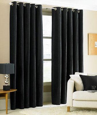 """TWO  panels FOAM BLACKOUT BLACK  grommet window curtain LINED 54x84"""" EACH PANEL"""