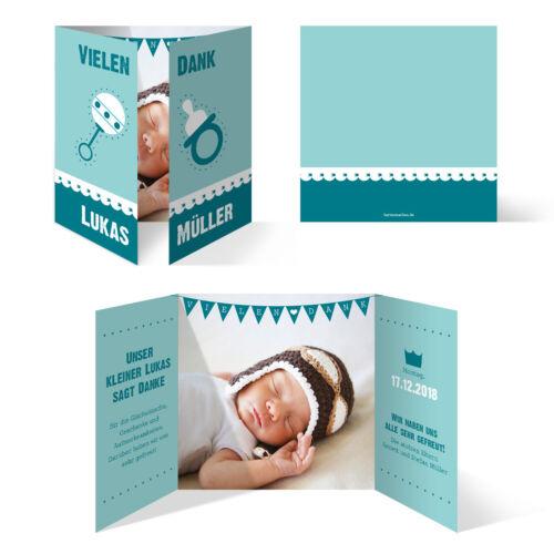 Altarfalz in Türkis//Blau Danksagungskarten Danksagung Geburt Taufe Geburtstag