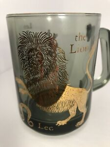 Vintage-Leo-Zodiac-Astrology-Smoked-Black-Glass-Gold-Foil-MCM-Horoscope-Used