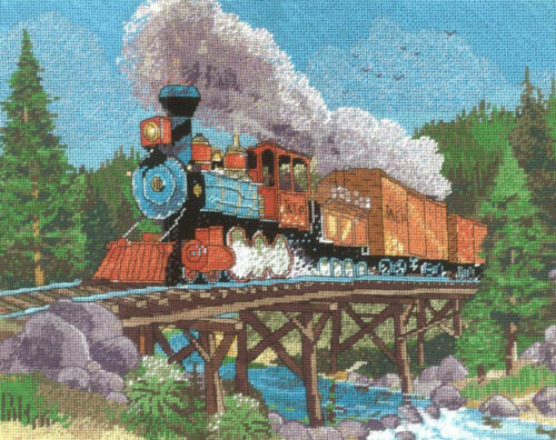 Cross Stitch and Needlepoint Kit ~ Mountain Steam Horse Locomotive Train #30930