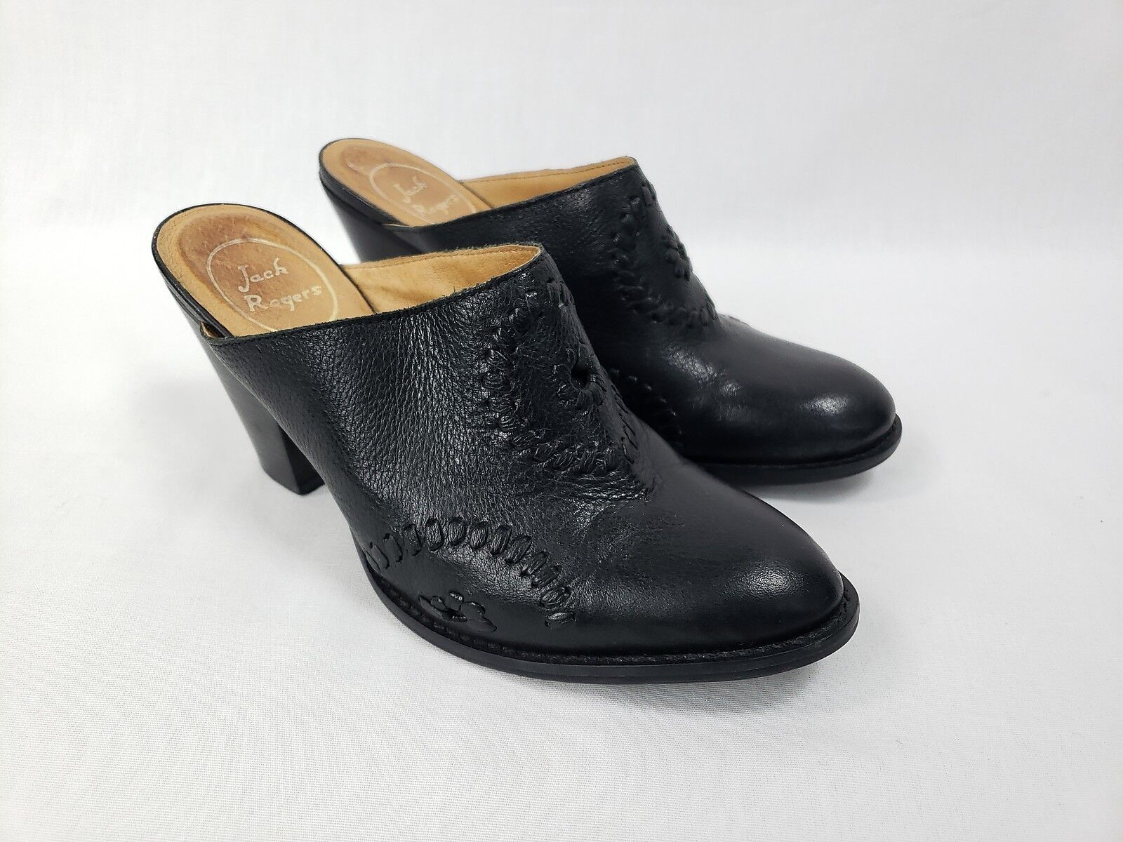 economico online JACK ROGERS ROGERS ROGERS Marley nero Leather Stitched Medallion Detail Mules scarpe sz 7.5  ti aspetto