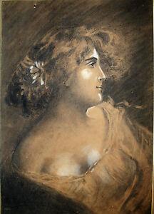 Détails Sur Dessin Art Nouveau Portrait Jeune Femme Charles Auguste Edelmann Visage Fusain