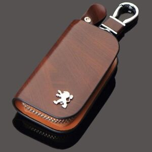 Peugeot Leather Car Key Keychain Fob Case Holder Zipper Cover High Quality Brown