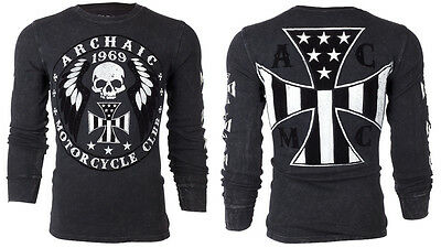 ARCHAIC by AFFLICTION Mens THERMAL T-Shirt MOTOR American Customs Biker UFC $58