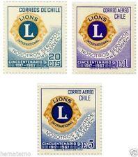 Chile 1967 #710-12 Cincuentenario Club de Leones MNH