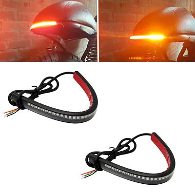 Red 2pcs Motorcycle 48LED Flexible Strip Light Turn Signal Indicator Yellow