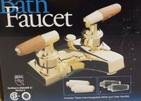 Jameco Decorative Dura Brass Bath Faucet W/interchangeable White/clear Handles