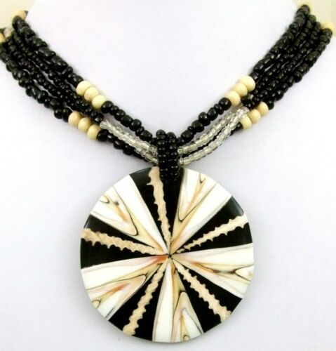 """Handmade Natural Round Cone Shell Pendant 18/"""" Beads necklace Women Jewelry BA081"""