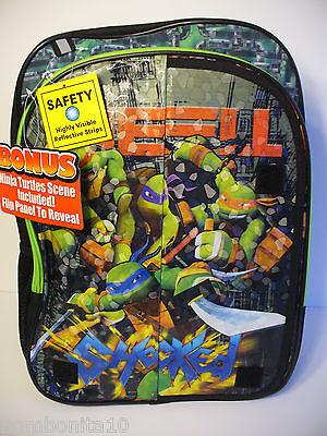 """Teenage Mutant Ninja Turtles 17"""" Backpack, Flip panel Bonus Scene, Bag Brand New"""