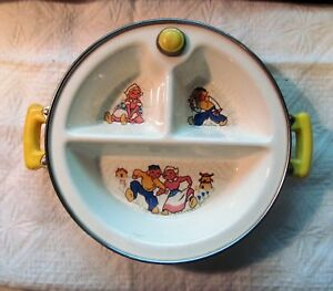 Feeding Vintage Divided Baby Food Dish In Warmer Little Boy Blue Excello