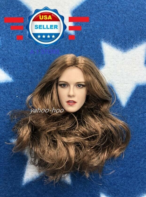 51 6 American Female Head Sculpt Brown Hair for 12'' Female Figure SUNTAN PHCIEN