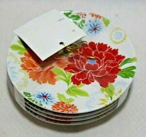 222 Fifth Huang Multi-Color Floral Porcelain Appetizer Plates Set of Four New