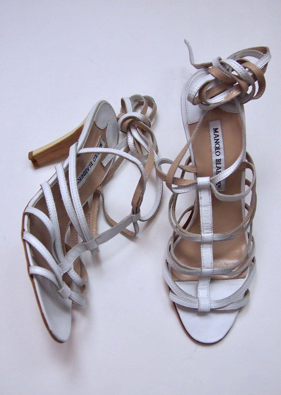 NEW Manolo Blahnik 38.5 EU 8.5 USA Weiß Strappy Skinny Sandales Heel ITALY NWOB