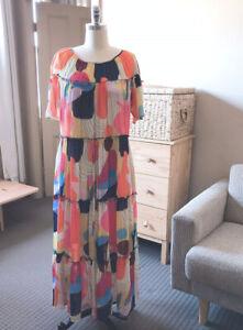⭕️ NEW  Exclusive Gorman x Katie Eraser Printed Tiered Dress  14.