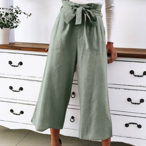 Women High Waisted Palazzo Yoga Pants Wide Leg Culottes Loose Trousers Plus Size