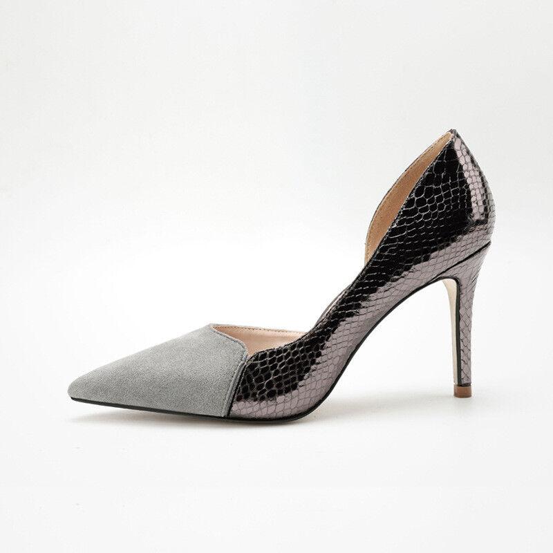 Schuhe Pumps Elegant Frau Stilett 9 cm Grau Komfortabel
