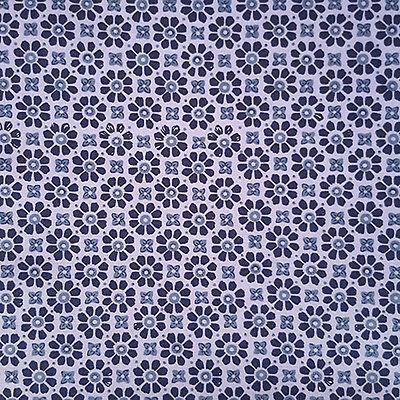 Cotton Poplin Fabric Craft Dress Making Quilting Tiles Moroccan Blue Indigo
